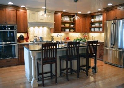 Rustic kitchen, open shelves
