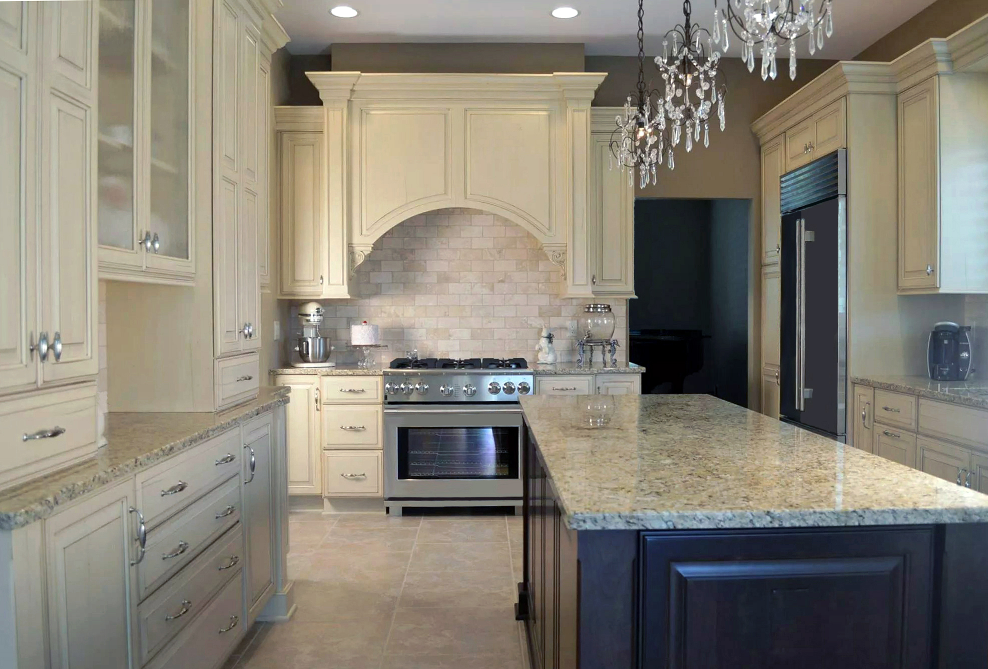 traditional design classic colors and stain ornate molding and details - Transitional Kitchen Design