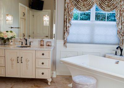 Feminine master bath, furniture-like vanity
