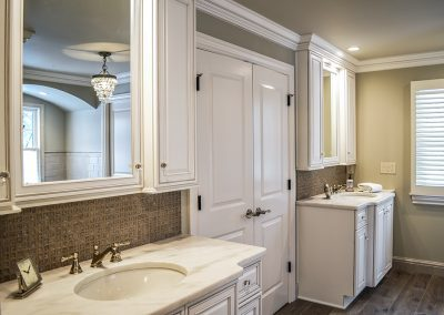 Farmhouse master bath, his and her vanities