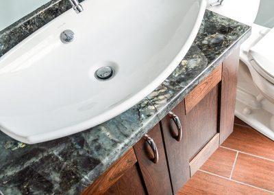 Narrow full bath, vessel sink and floating vanity