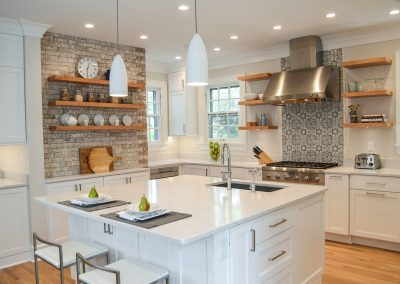 White kitchen with color and texture